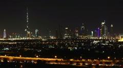 Nightlapse of Dubai transportation and towers. Stock Footage