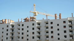 Construction of the elite apartment blocks. Crane - stock footage