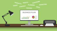 business plan with graph and some domain related - stock illustration