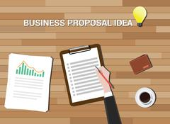 business proposal idea in work desk wood background - stock illustration