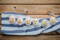 Easter eggs on the napkin. Easter eggs for Easter holidays design. Easter egg Stock Photos