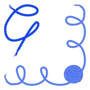 Letter Q. Alphabet font vector - yarn, rope, cable - stock illustration