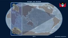 Antigua and Barbuda - 3D tube zoom (Kavrayskiy VII projection) Stock Footage