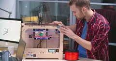 Observing 3D printing Process Stock Footage