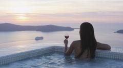Jet set Travel Woman In Bikini Enjoying Sunset On Luxury Vacation Holidays Stock Footage