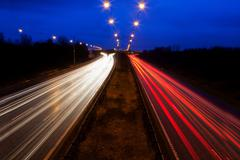 Time-lapse view of traffic at night Stock Photos