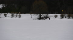 4K Skier On His Way In Winter Forest (Park) - stock footage