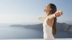 Serenity Happy Woman With Arms Outstretched Free Relaxing Enjoying Freedom - stock footage