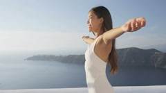 Serene Cheerful Woman Enjoying Nature In Summer Relaxing Enjoying Freedom - stock footage