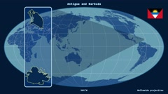 Antigua and Barbuda - 3D tube zoom (Mollweide projection). Solids Stock Footage