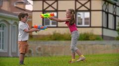 Water Gun Battle Stock Footage