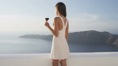 Woman Drinking Red Wine Against Nature Santorini Standing Elegant Enjoying View Stock Footage