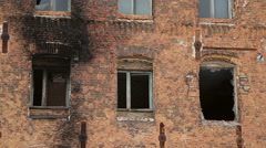The windows of the old brick house - stock footage