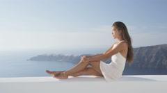 Luxury Lifestyle Woman Enjoying View On Santorini On Travel Vacation Holidays Stock Footage
