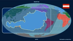 Austria - 3D tube zoom (Mollweide projection). Continents Stock Footage