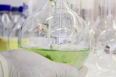 Scientist holding beaker full of liquid Stock Photos