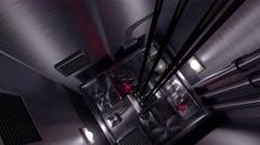 Elevator shaft lift shaft bunker vault safe nuclear machinery 4k - stock footage