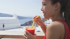Smiling Woman Having Red Beet And Carrot Juice Living Healthy Life Stock Footage