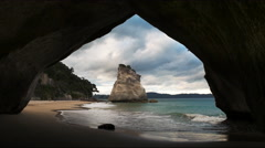 cathedral cove rock arch north island new zealand - stock footage