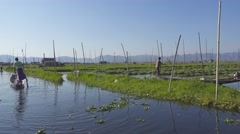 People canoe in floating gardens on Inle Lake Stock Footage