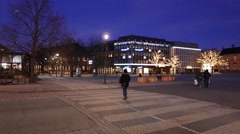 "Shot city streets, the Oav Tryggvason Monument and ""Torget"", the central square Stock Footage"