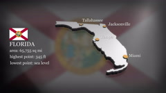 3D animated Map of Florida - stock footage