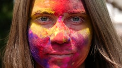 The girl's painted face Stock Footage