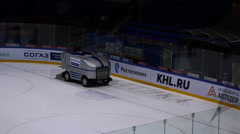 Preparation ice the game . The machine floods the ice. Hockey arena  Stock Footage