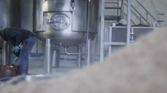 4K Steaming hops used in brewing process at a brewery with worker in background Stock Footage