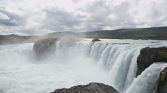 Iceland Landscape With Godafoss Waterfall Famous Tourist Destination - stock footage