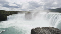 Iceland Scenic View Of Godafoss Waterfall Famous Tourist Destination - stock footage