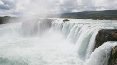 Majestic View Of Godafoss Waterfall On Sunny Day Tourist Destination Iceland Stock Footage
