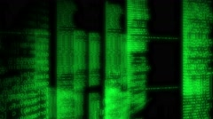 Binary code glowing and animating on black Stock Footage