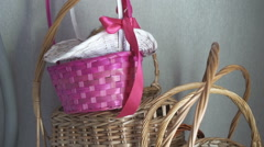 Colorful wicker baskets Stock Footage