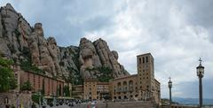 View of Santa Maria de Montserrat Abbey, Barcelona, Catalonia, Spain. Stock Photos
