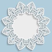 3D Vector bas-relief frame, vignette with ornaments, decorative plate Stock Illustration