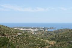 View towards Cadaques coastline from GI-614 Road, Catalonia, Spain. - stock photo
