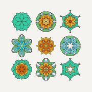 Stock Illustration of Set of ornate vector mandala symbols. Mehndi lace tattoo. Oriental weave with