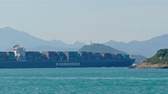 Large container ship in the harbor of Hong Kong Stock Footage
