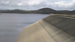 Side of a Dam wall with low water Stock Footage