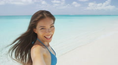 Happy Woman Taking Selfie Walking On Beach Vacation Summer Travel Stock Footage