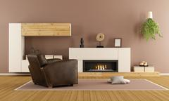 Modern living room with decorative fireplace - stock illustration