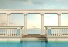 luxury swimming pool with balustrade and colonnade - stock illustration