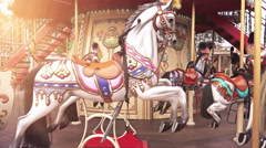 4K Traditional Fairground Vintage Carousel in the Park Stock Footage