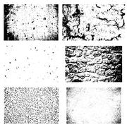 Grunge textures set. Backgrounds of cracked earth, asphalt, stone wall, pebbles Stock Illustration