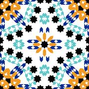 Gorgeous seamless pattern from blue Moroccan tiles, ornaments Stock Illustration