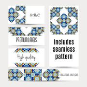 Business cards pattern with morocco ornament. Includes seamless pattern Stock Illustration