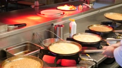 Preparing and Cooking pancakes in a professional kitchen, 4K Ultra HD Stock Footage