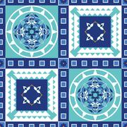 Gorgeous seamless pattern from blue Moroccan tiles, ornaments - stock illustration
