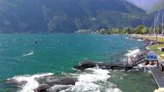 Waves Of Lake Garda At Riva Del Garda, Italy Stock Footage